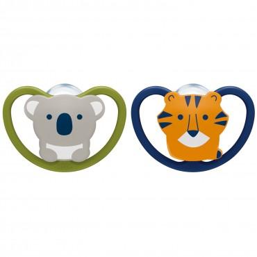 Nuk CIUCCIO 6-18 Silicone SPACE Koala e Tigre