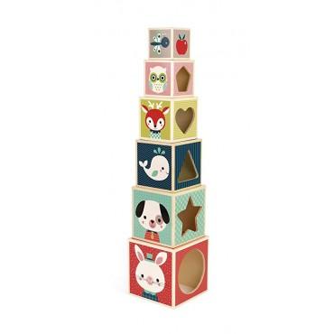Janod PIRAMIDE IMPILABILE 6 Cubi Baby Forest J08016