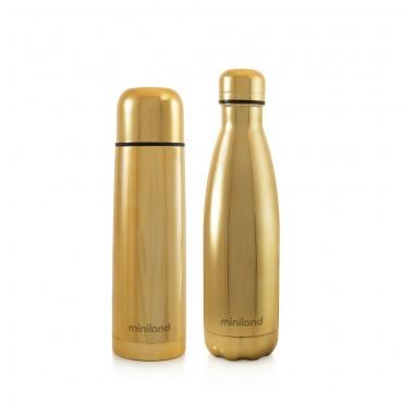 Miniland Set Thermos-Bottiglia Deluxe MYBABE&ME 500ml GOLD 89259