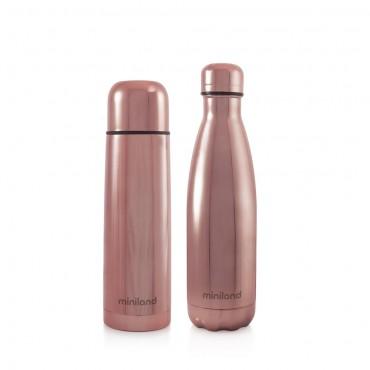 Miniland Set Thermos-Bottiglia Deluxe MYBABE&ME 500ml ROSE 89260