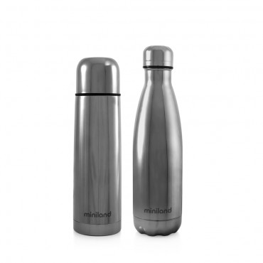 Miniland Set Thermos-Bottiglia Deluxe MYBABE&ME 500ml SILVER 89258