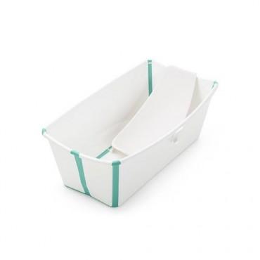 Stokke FLEXI BATH Bundle Vaschetta Bagno Pieghevole Bianco-Aqua + Supporto Neonato