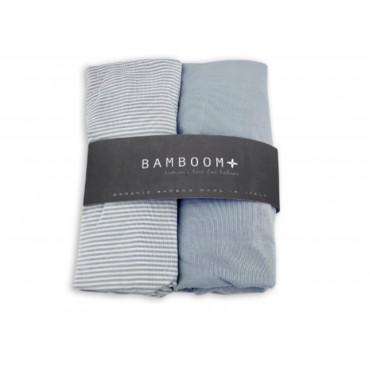 Bamboom COPRIMATERASSO Culla 80 x 40 Blu/White Stripes Blu 104-161-060