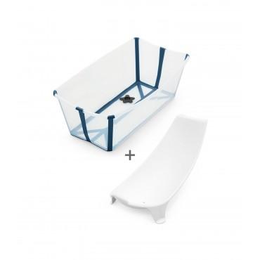 Stokke FLEXI BATH Bundle Vaschetta Bagno Pieghevole Trasparente-Blu + Supporto Neonato