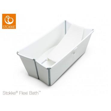 Stokke FLEXI BATH Vaschetta Bagno Pieghevole Bianco + Supporto Neonato