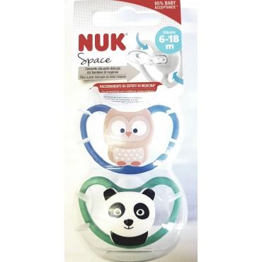Nuk CIUCCIO 6-18 Silicone SPACE Gufo-Panda 10736122