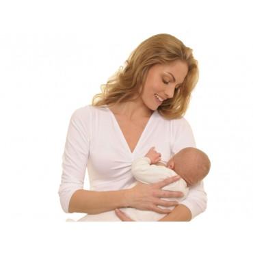 Quaranta settimane MILKSHIRT Maglietta Allattamento Manica Lunga Bianco