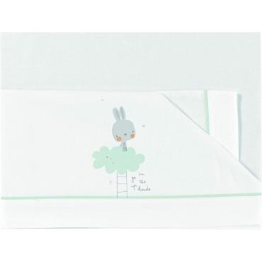Bimbi Dreams LENZUOLA Culla-Carrozzina 50 x 80 CONIGLIO Bianco-Celeste 00114856